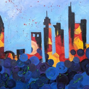 Paint the Town oder unsere Frankfurter Syline in Acryl malen mit uns im Painting partys Studio